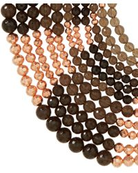 Rosantica - Metallic Rose Gold-Plated Smoky Quartz Rassia Necklace - Lyst