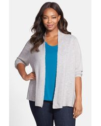 Eileen Fisher - Metallic Angle Front Cardigan - Lyst