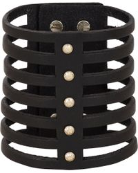 Isabel Marant - Black Leather Parade 7 Row Bracelet - Lyst