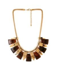 Forever 21 | Metallic Faux Tortoise Bib Necklace | Lyst