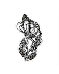 Aeravida - Metallic Morning Butterfly Flower Marcasite Sterling Silver Slide Pendant - Lyst