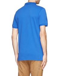 Maison Kitsuné - Blue Logo Embroidery Piqué Polo for Men - Lyst