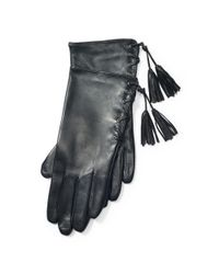 Ralph Lauren - Black Lace-up Leather Gloves - Lyst