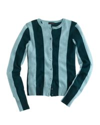 J.Crew | Green Collection Cashmere Cardigan in Wide Stripe | Lyst