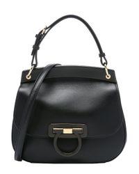 Ferragamo - Black Calfskin Small 'hermada' Convertible Shoulder Bag - Lyst