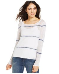 Eileen Fisher - Blue Semi-Sheer Linen Box Top - Lyst