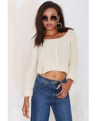 Nasty Gal | White Unif Sought Cable Knit Sweater | Lyst