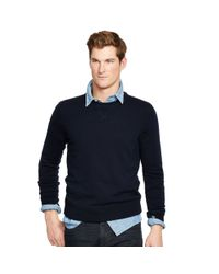 Polo Ralph Lauren - Blue Merino Wool Crewneck Sweater for Men - Lyst
