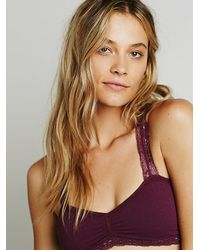 Free People | Purple Seamless Racerback Crochet Bra Cutout Cheeky Undie | Lyst