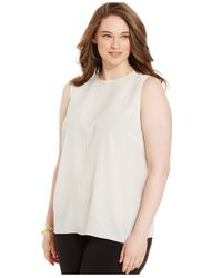 Michael Kors - Natural Michael Plus Size Sleeveless Decorative-detail Top - Lyst