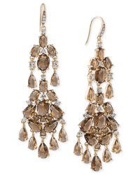 Carolee | Gold-tone Brown Crystal Chandelier Earrings | Lyst
