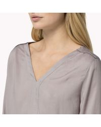 Tommy Hilfiger - Gray Cotton Viscose Light Blouse - Lyst