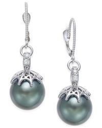 Macy's - Metallic Cultured Tahitian Pearl (11mm) And Diamond Drop Earrings In 14k White Gold - Lyst