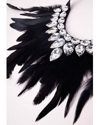Missguided | Black Statement Feather Necklace | Lyst