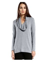 Michael Stars | Gray Cowl Hood Hi-low Tunic | Lyst