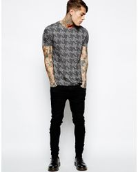 ASOS - Gray T-shirt With Dogtooth Print And Neppy Jersey for Men - Lyst