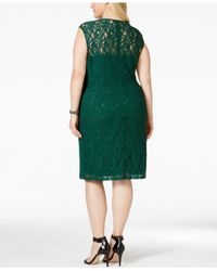 Spense - Green Plus Size Illusion Lace Dress - Lyst