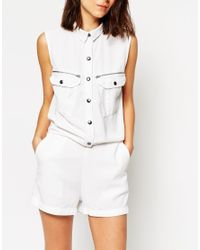 ASOS | Natural Playsuit In Washed Tencel With Zip And Pocket Detail | Lyst