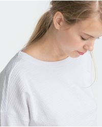 Zara | White Textured Sweatshirt | Lyst