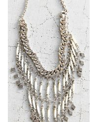 Vanessa Mooney - Metallic Midnight Silver Statement Necklace - Lyst