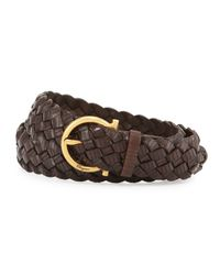 Ferragamo - Brown Woven Leather Gancini Belt - Lyst