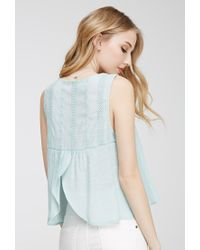 Forever 21 - Green Tulip Back Embroidered Top - Lyst
