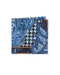 Etro - Blue Paisley & Houndstooth Silk Pocket Square for Men - Lyst