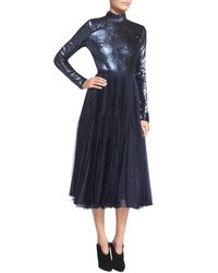 Sally Lapointe - Blue Sequined Long-sleeve Open-back Dress - Lyst