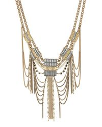 BCBGeneration | Metallic Bead And Stone Bib Necklace | Lyst