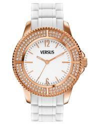 Versus - Pink 'tokyo' Crystal Bezel Silicone Strap Watch - Lyst