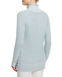 Loro Piana - Blue Knit Button-turtleneck Sweater - Lyst