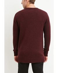 Forever 21 - Red Vented-hem Marled Sweater for Men - Lyst