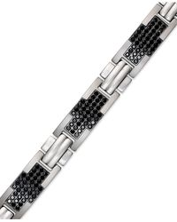 Macy's | Men's Stainless Steel Bracelet, Black Diamond Cross Bracelet (2 Ct. T.w.) for Men | Lyst