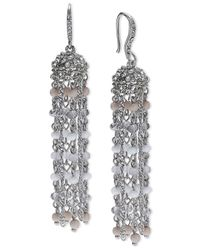 INC International Concepts | Metallic Silver-tone Gray Bead Tassel Drop Earrings | Lyst