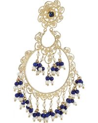 Isharya - Blue Moon Bali Goldplated Pearl And Faux Lapis Earrings - Lyst