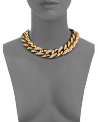 Michael Kors - Metallic Animal Instinct Pavé Curb Link Necklace - Lyst