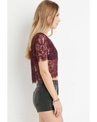 Forever 21 | Purple Scalloped-eyelash Lace Top | Lyst