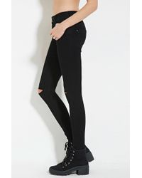 Forever 21 - Black Distressed Skinny Jeans - Lyst