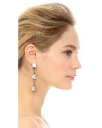 Oscar de la Renta - Metallic Triple Octagon Stone Drop Earrings - Crystal/silver - Lyst