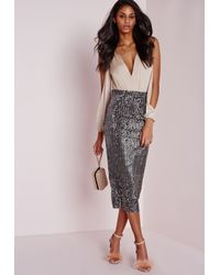 Missguided | Gray Longline Velvet Sequin Midi Skirt Grey | Lyst