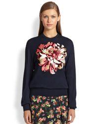 Erdem - Blue Tibbie Embroidered Modal Wool Sweater - Lyst
