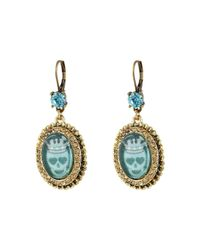 Betsey Johnson | Multicolor Turquoise & Caicos Cabachon Non-matching Drops Earrings | Lyst