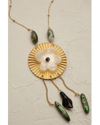 Anthropologie | Metallic Gilded Peony Pendant Necklace | Lyst