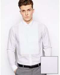 ASOS - White Smart Tux Shirt in Long Sleeve with Pleated Bib for Men - Lyst