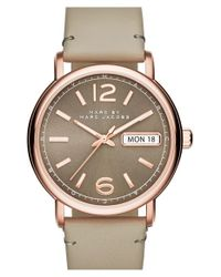 Marc Jacobs | Gray 'fergus' Leather Strap Watch | Lyst