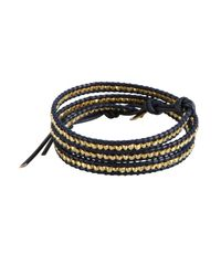 Chan Luu - Blue Navy Leather And Gold Nugget Beaded Leather Wrap Bracelet - Lyst