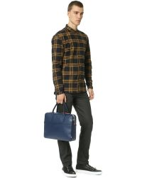 Uri Minkoff - Blue Smooth Leather Fulton Briefcase for Men - Lyst