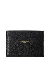 Saint Laurent - Black Mens Grain Leather Small Card Holder for Men - Lyst