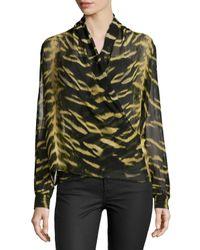 Roberto Cavalli - Metallic Long-sleeve Tiger-print Silk Wrap Blouse - Lyst