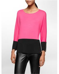 Calvin Klein | Pink White Label Colorblock Zip Detail Dolman Sleeve Top | Lyst